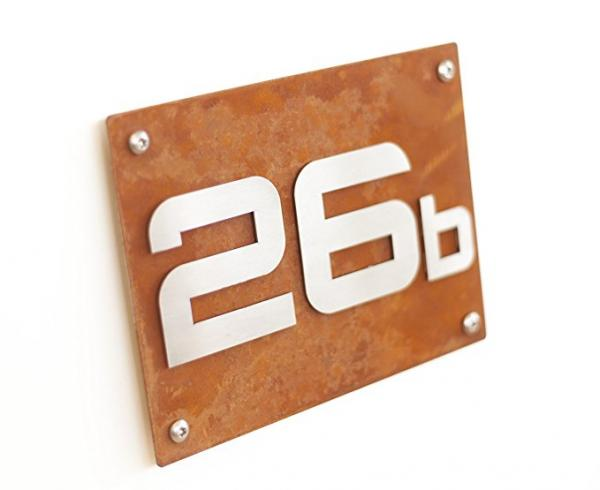 House number plate Corten, house number lettering